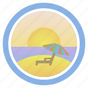 dawn, deck chair, dream, sea, sunny, sunset and peep of morning, umbrella icon