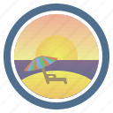 deck chair, dream, sea, sunny, sunset, sunset and peep of morning, umbrella icon