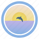 dawn, dolphin, dream, sea, sunny, sunset and peep of morning icon
