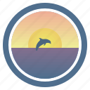 dolphin, dream, sea, sunny, sunset, sunset and peep of morning icon