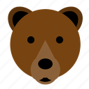 bear, brown, brown bear, cute, face, happy, head icon