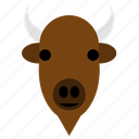 animal, bison, buffalo, bull, cute, face, happy icon