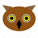 animal, bird, cute, face, night, owl, zoo icon