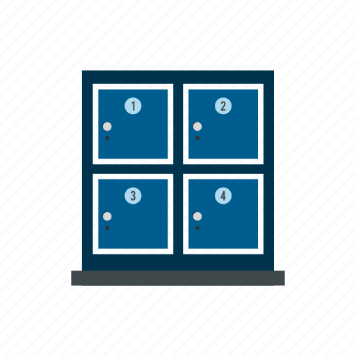 bags, cell, lock, metal, personal, storage, store icon