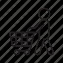 supermarket, shopping, cart, customer, mall