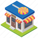 candy shop, candy store, confectionary store, lolly shop, sweetmeat shop icon