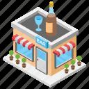 alcohol shop, bar, bar dance bar, pub, wine shop icon