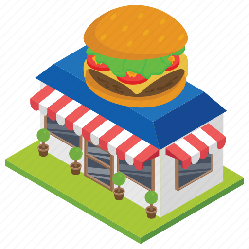 burger shop, food corner, food point, food store, restaurant icon