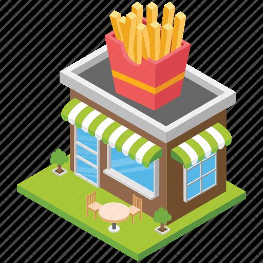 fast food shop, food corner, food point, fries shop, restaurant icon