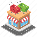 market, mart, shopping center, shopping mall, shopping place icon