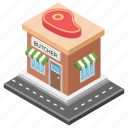 butchers shop, meat market, meat shop, meat store, slaughter house icon