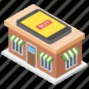 electronic shop, mobile market, mobile mart, mobile shop, shop architecture icon