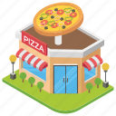 food point, pizza restaurant, pizza shop, pizza store, shop architecture icon