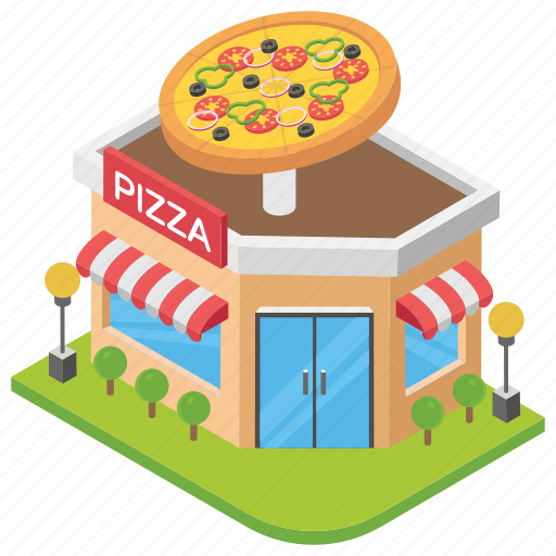 food point, pizza restaurant, pizza shop, pizza store, shop architecture icon