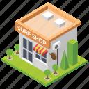 fish meat, fish shop, shop architecture, surf shop, surf shop building icon