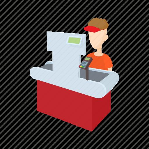 cartoon, cash, cashier, register, supermarket, uniform, wooman icon