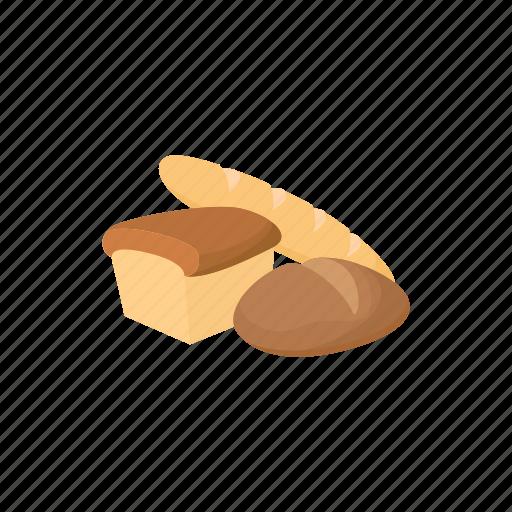 bake, bakery, bread, cartoon, meal, organic, wheat icon