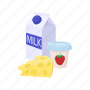 cartoon, cheese, dairy, food, milk, product, yogurt icon