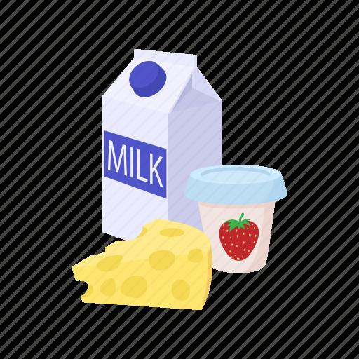 cartoon, cheese, dairy, food, milk, product, yogurt icon