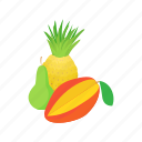 assortment, cartoon, food, fresh, fruit, mango, pineapple icon