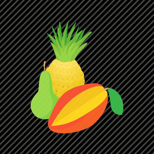 assortment, cartoon, food, fresh, fruit, mango, pineapple icon