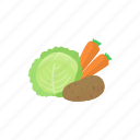 assortment, cabbage, carrot, cartoon, food, potato, vegetable icon