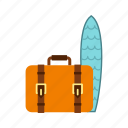 board, journey, luggage bag, suitcase, surf, surfing, travel icon