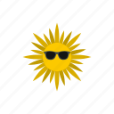 heat, hot, sun, sunburst, sunglasses, sunlight, sunshine icon