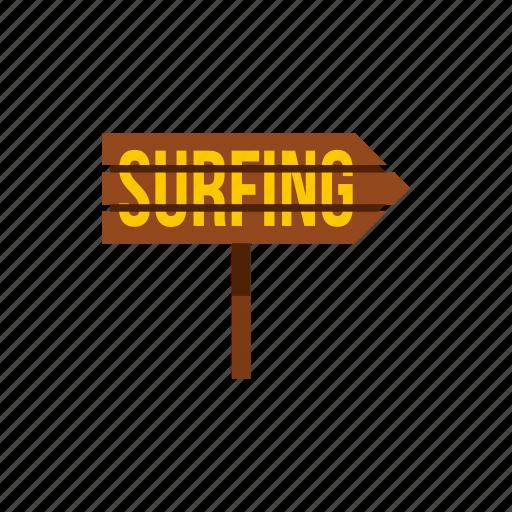 arrow, board, direction, post, surfboard, surfing, word icon