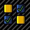 icon, color, cheklist, business, marketing, management