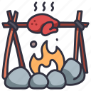 food, fire, cooking, roast, grilled, meat, steak icon