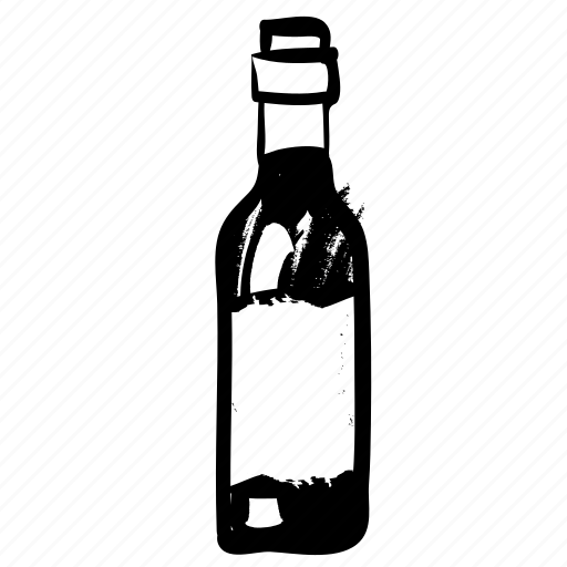 bottle, red wine, sumie, wine icon
