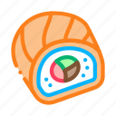 cheese, cooked, japanese, linear, meal, roll, sushi