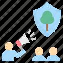 campaign, congregate, forest, preservation, propaganda icon