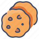 bakery, biscuit, chip, chocolate, cookie, food, sweet