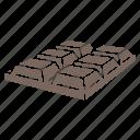 chocolate, chocolate bar, dark chocolate, dessert, milk, milk chocolate icon
