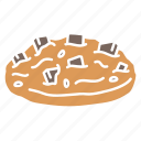 choclate, chocolate chips, chocolate cookie, chocolate cookie icon, cookie, cookie icon, dessert