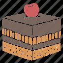 cake, cake slice, cherry, cherry cake, chocolate, chocolate cake, dessert icon