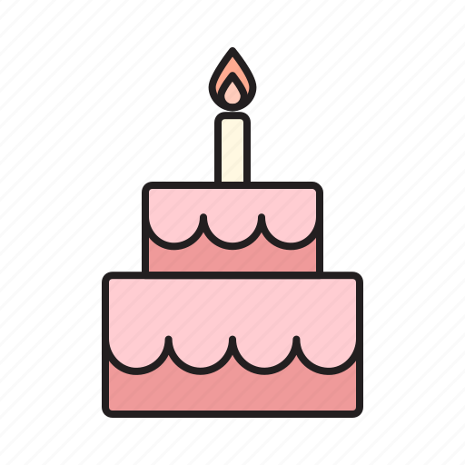 Birthday Cake Celebrate Food Sweet Sweets Tart Icon