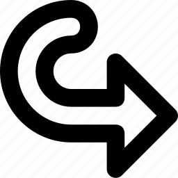 arrow, curving right, forward, next, turn icon