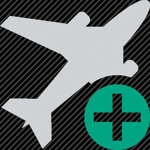 add, airplane, flight, plane, transport, travel icon
