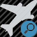 airplane, flight, plane, search, transport, travel icon