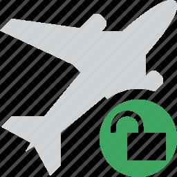 airplane, flight, plane, transport, travel, unlock icon