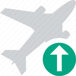 airplane, flight, plane, transport, travel, upload icon