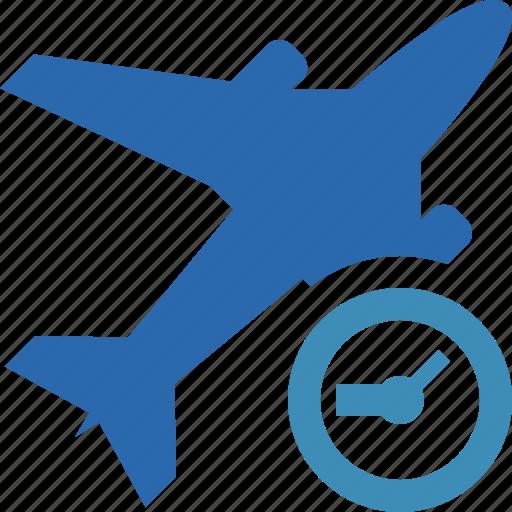 airplane, clock, flight, plane, transport, travel icon