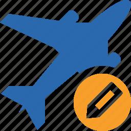 airplane, edit, flight, plane, transport, travel icon