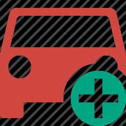 add, auto, car, traffic, transport, vehicle icon