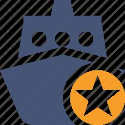 cruise, sea, ship, star, transport, travel, vessel icon