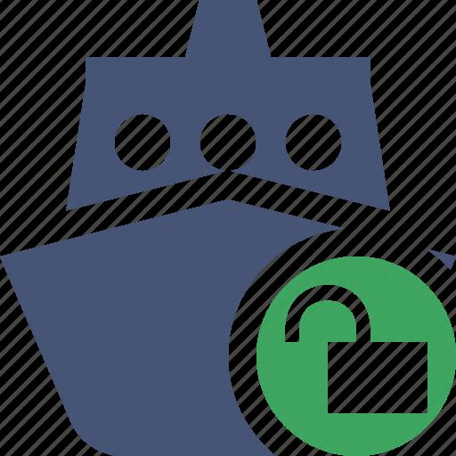 cruise, sea, ship, transport, travel, unlock, vessel icon