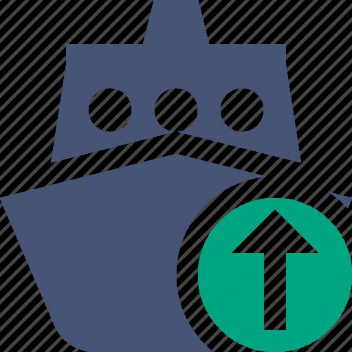 cruise, sea, ship, transport, travel, upload, vessel icon